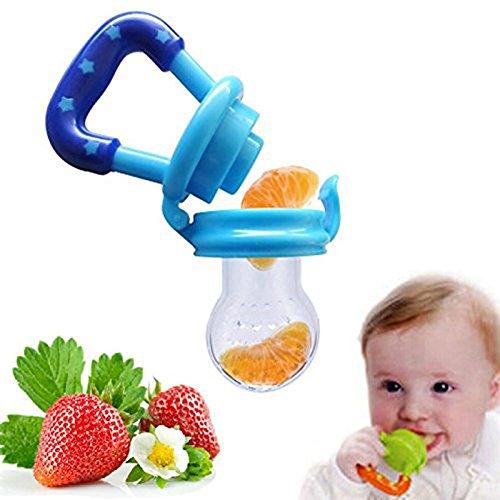 Hosaire Bambino ciuccio Clip Attache Sucette bambini capezzolo cibo fresco latte Nibbler cibo alimentatore sicuro bambino ciuccio bottiglie capezzolo tettarella (Blu)