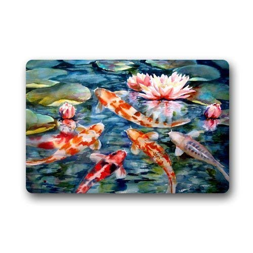 Water Lily Koi Fish Pond Custom Door Mats Indoor Outdoor House Doormat -