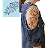 DaLin 4 Sheets Sexy Temporary Tattoos For Women Flowers Collection (Twin Rose)