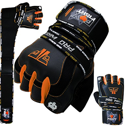 FOX-FIGHT PRO Wrist ORANGE Fitness Kraftsport Leder Trainings Handschuhe Trainingshandschuhe Handgelenkbandage Kraftsporthandschuhe Krafttraining Gewichtheben Bodybuilding Herren Fitnessstudio M