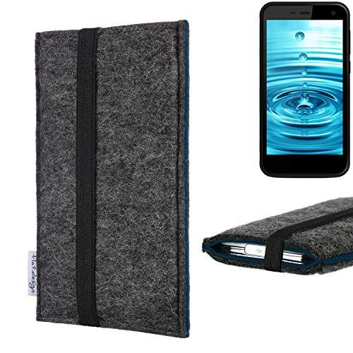 flat.design Handyhülle Lagoa für Energizer H500S   Farbe: anthrazit/blau   Smartphone-Tasche aus Filz   Handy Schutzhülle  Handytasche Made in Germany