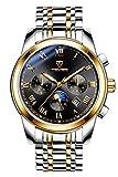 Automatische mechanische Uhr selbst Aufziehen Herren Gold Edelstahl Fall Schwarz Zifferblatt Lederband Kalender Luminous Wasserdicht