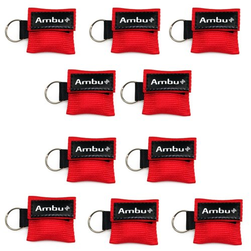 10x AMBU LifeKey Schlüsselanhänger Beatmungsmaske in rot