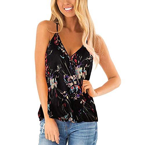 Deep V-ausschnitt Tank Top (routinfly Damen Freizeit T-Shirt,Bedruckte Sling-Top-Weste mit V-Ausschnitt Floral Deep Strap Tank Tops Sommer ärmellose Hemden Blusen)