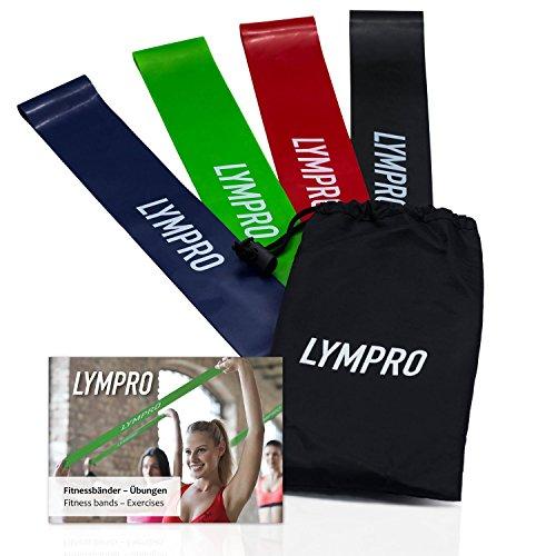 LYMPRO Fitnessbänder (4er Set) mit Übungsheft und Transporttasche - Gymnastik-Bänder/Dehnungs-Bänder/Elastik-Bänder/Resistance-Bänder/Übungs-Bänder/Stretch-Bänder