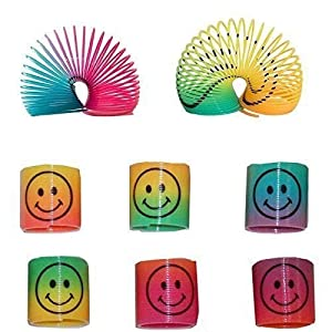 Gifts 4 All Occasions Limited SHATCHI-88 12 Mini Rainbow Smiley Face Springs Slinky Piñata Party Loot Bag Fillers Toy, Multi