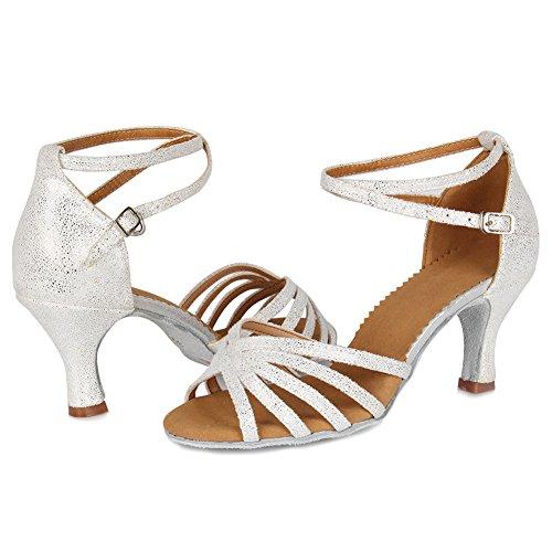 SWDZM Damen Ausgestelltes Tanzschuhe/Standard Latin Dance Schuhe Satin Ballsaal ModellD1810 Weiß 36EU/22.5CM - 4