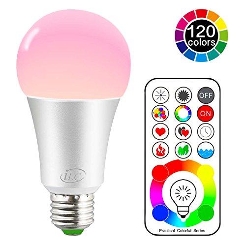 htmittel RGB+Weiß Lampe Edison Dimmbare Farbige Leuchtmitte Farbwechsel Lampen Scheinwerfer - 120 Farben RGBW - 10 Watt E27 Fassung LED Birnen - Dual Memory - 2 Dynamischer Modus - Kabellos Fernbedienung inklusive (Farbige Glühbirnen)