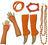 A-Express 1980 Neon Jambières Collier Gants Résille Déguisement Fête pour tutu costume ensemble Taille Unique (Orange)