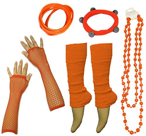 Neon Beinstulpen Handschuhe Halskette Shamballa Tüll Fluo Ballett Verkleidung Party Tutu Kostüm Set (Orange Halskette)