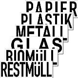 Aufkleber Sticker 20cm Mülltrennung Papier Restmüll Plastik Bio Mülleimer Mülltonne Müll Kontainer Tonne Hinweis (6er Set)