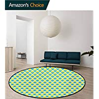 RUGSMAT Yellow And Blue Art Deco Pattern Non-Slip Washable Round Area Rug,Sunrise Blurry Sky Horizon In The Middle Of Nowhere Serene View Foam Mat Living Room Decor,Lavender Blue Yellow