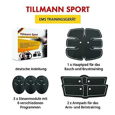 EMS Trainingsgerät von Tillmann's® Bauchmuskeltrainer Fitness Geräte Elektrostimulation Massagegerät Muskelaufbau und Fettverbrennung -mit Spitzensportlen enwickelt- von Tillmann's Deutschland®