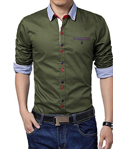 Herren Streifen Muster Stickdetail Slim Fit Knöpfe Top Hemd Armee Grün
