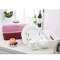 Preisvergleich für SNX Schrank Kunststoff Küche Abfluss Geschirrkorb mit Deckel Geschirr Besteck Aufbewahrungsbox Geschirrkorb Tropfschale Rack Rack GHJ (Farbe : #2)
