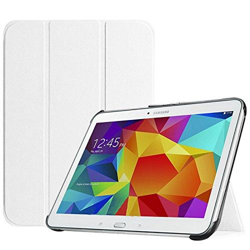 Fintie Samsung Galaxy Tab 4 10.1 Hülle Case - Ultra Schlank Superleicht Ständer Smart Shell Cover Schutzhülle Etui Tasche mit Auto Schlaf / Wach Funktion für Samsung Galaxy Tab 4 10.1 SM-T530 SM-T535 (nicht geeignet für Samsung Galaxy Tab 3 10.1), Weiß