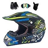 Gnohnay Motocross Helm Herren, Motorrad Crosshelm mit Visier Brille Handschuhe Maske, Fullface MTB...