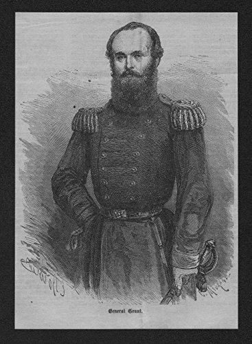 Portrait General Ulysses S Grant Präsident USA Holzstich wood engraving (Ulysses S Grant Portrait)