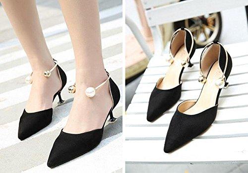 SHINIK Femmes Pompes à cheville Sandales à talons bas Pointe Toe Métal Perle Chaussures peu profondes Chaussures de bureau Slim Mules Noir Black