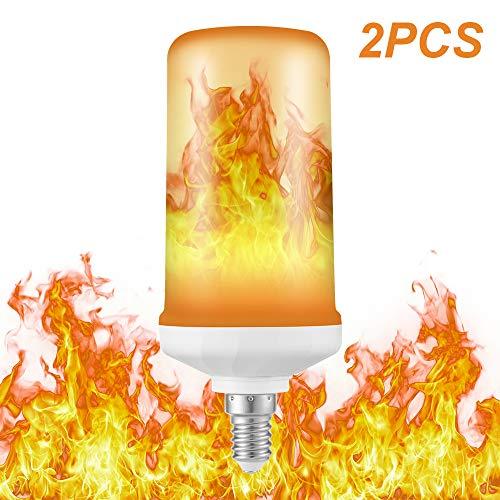 Preisvergleich Produktbild Kreema 2 stücke E14 Basis LED Flamme Effekt Glühbirne 4 Modi mit Schwerkraft Auf Den Kopf Simuliert Feuer Brennen Dekorative Lampe 5 Watt AC85-265V