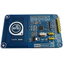 Apto PN532 - Sistema NFC y RFID para Arduino (tarjetas de evaluación módulo lector V 2.0 con RFID de 13,56 MHz, tarjeta blanca transparente de 1 K)