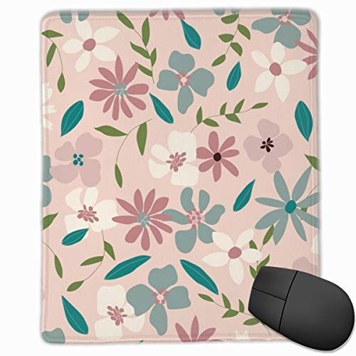 Layered Floral On Dusty Pink Non-Slip Rectangle Rubber Mouse Pad 30x25CM - Floral Layered