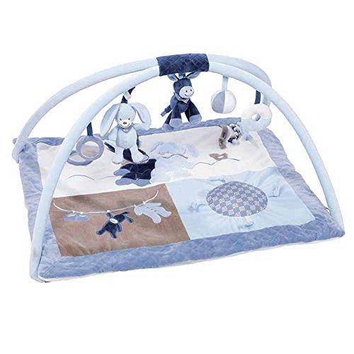 Nattou Gepolsterte Krabbeldecke mit Spielbogen, Jungen, Rechteckig 80x70 cm, blau - Alex und Bibou