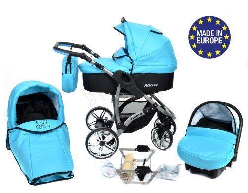 Allivio - 3 in 1 Reisesystem einschließlich Kinderwagen mit schwenkbaren Rädern, Kinderautositz, Buggy und Zubehör (3 in 1 Reisesystem, Schwarz und Türkis)