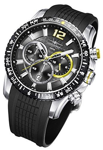 FIREFOX Gadget FFS190-108 schwarz/gelb Edelstahl Herrenuhr Chronograph Spezial Silikonarmband Sicherheitsdornschließe 10 ATM wasserdicht