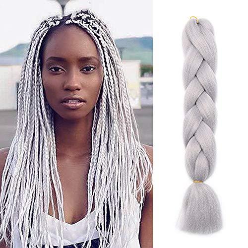 Extension treccine capelli finti a treccia braiding hair una ciocca braids extension 100g, grigio argento