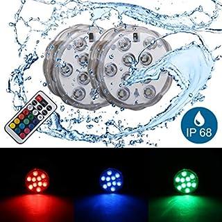 B.K.Licht LED Unterwasserlicht | Unterwasserbeleuchtung | Teichbeleuchtung | inkl. Fernbedienung | Farbwechsel | RGB und Wasserdicht | Wasserbeleuchtung für Vase | Dekoration