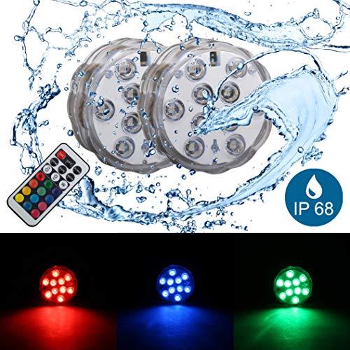 Luce led multicolore | decorazioni con cambio colore rgb per feste | illuminazione impermeabile per piscina | lucine da mettere dentro vasi | set di 2 | ip68 | include telecomando