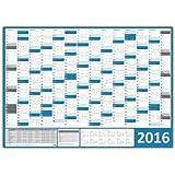 XXL Wandkalender / Wandplaner 2016 - DIN A0 (blau) Format (1189 x 841 mm) mit 14 Monaten, kompletter Jahresvorschau 2017 und Ferientermine/Feiertage aller Bundesländer