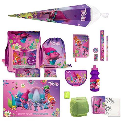 Trolls Schulranzen Set 15tlg Federmappe Dose, Flasche, Schultüte 85cm, Schreibtischauflage Poppy and Friends NEU