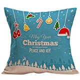 Merry Christmas Pgojuni Soft Pillowcase Linen Blend Throw Pillow Cover Home Decor Cushion Cover for Sofa/Car 1pc (E)