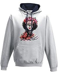 Sudadera capucha bicolor hombre Catrina Creación Fashion Dibujo mexicano kiarenzafd Streetwear, Arctic White-French Navy, XXL