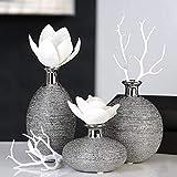 Vase Miro Keramik silber Oberflächenstruktur matt/glänzend silbernem Vasenhals, Deko, Blumen (Klein dick (mittig))
