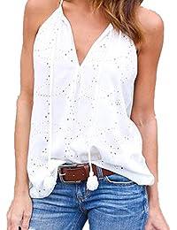 Fulltime - Camiseta sin mangas - Túnica - Rayas - Cuello redondo - para mujer