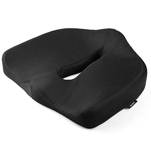 INTEY Orthopädisches Sitzkissen, Memory-Schaum Sitzkissen, Ergonomische Sitzauflage Für und Linderung Von Steißbeinschmerzen - Schwarz