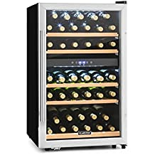 Klarstein Vinamour 40D Nevera para vino con 2 zonas (capacidad de 135 L o 41 botellas, vinoteca con puerta de vidrio doble aislamiento, acero inoxidable)