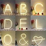 Supertop LED Alphabet Zahlen Lichter Nachtlicht Neon Alphabet Lampe 26 Buchstaben Lampe für Geburtstag Hochzeit Schlafzimmer Wandbehang Dekor Licht