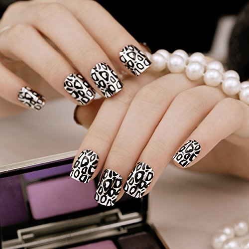 ArtPlus Künstliche Nägel 24pcs Leopard Chrome False Nails with Glue Full Cover Medium Length Fake Nails Art (Medium Leopard)