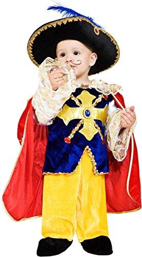 COSTUME di CARNEVALE da PICCOLO D'ARTAGNAN vestito per neonato bambino 0-3 Anni travestimento veneziano halloween cosplay festa party 7708 Taglia 2