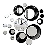 Demiawaking Stylish 3D Circle Collections Acrylic Wall Clock DIY Mirror Wall Clock Silent Non Ticking for Living Room Bedroom Kitchen Home Decor