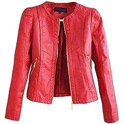 SaiDeng Cuello Redondo Colores Sólidos Cremallera Chaqueta De Para Mujer Rojo 2XL