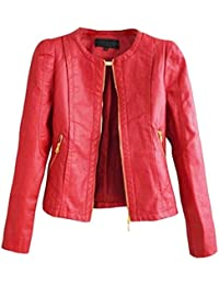 SaiDeng Cuello Redondo Colores Sólidos Cremallera Chaqueta De Para Mujer