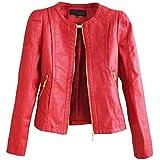 SaiDeng Cuello Redondo Colores Sólidos Cremallera Chaqueta De Para Mujer Rojo M