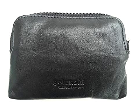 Soft Leather Zip Top Coin and Credit Card Purse (Black)