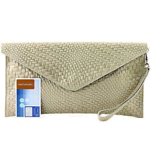 modamoda de - ital. Ledertasche Clutch Unterarmtasche Abendtasche Damentasche Handgelenktasche Flechtmuster T106F Sandfarben