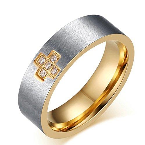 Sanjiu gioielli in acciaio INOX uomo anello Biker punk Rcoker classico rotondo a forma di croce con zirconia cubica da anello anniversario di matrimonio anello di fidanzamento per gli uomini Sliver, acciaio inossidabile, 19, colore: Sliver, cod. SanJiushoushi102